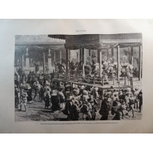 ANTIQUE ENGRAVED 1876 DANCE OF PRIESTS JAPAN NIPPON 19th CENTURY PRINT  026CC