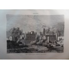 ANTIQUE ENGRAVED ABYSSINIA 1876 IMPERIAL PALACE GONDAR 19th CENTURY PRINT 29C
