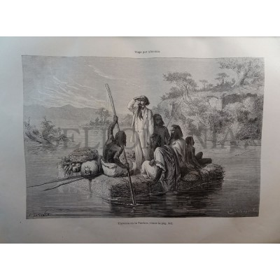 ANTIQUE ENGRAVED ABYSSINIA 1876 CROSSING IN TANKOA 19th CENTURY PRINT 0030CC