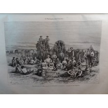 ANTIQUE ENGRAVED UNITED STATES 1876 CARAVAN OF MORMON 19th CENTURY PRINT 35CC