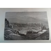 ANTIQUE ENGRAVED BULGARIA 1876 VIEW FILIPOPOLIS 19th CENTURY PRINT 0038CC