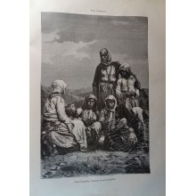 ANTIQUE ENGRAVED BULGARIA 1876 TZIGANES TYPES 19th CENTURY PRINT 040CC