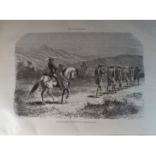 ANTIQUE ENGRAVED NEW GRANADA 1876 THE VOLUNTEERS 19th CENTURY PRINT 044CC