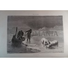 ANTIQUE ENGRAVED NORTH POLE 1876 WHITE BEAR HUNT 19th CENTURY PRINT 047CC