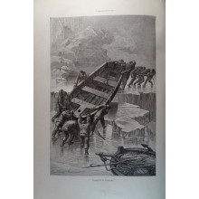 ANTIQUE ENGRAVED NORTH POLE 1876 TRANSPORT OF THE BOAT 19th CENTURY PRINT 049CC