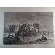 ANTIQUE ENGRAVED NORTH POLE 1876 THE HUSKIES MUSIC BOXES 19th CENTURY PRINT 50CC