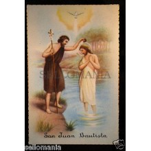 ANTIGUA POSTAL SAN JUAN BAUTISTA  OLD SAINT JOHN THE BAPTIST HOLY CARD  CC77