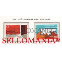 1987 AÑO PAZ PEACE DOVE HANDS PALOMA   92 / 93 ** MNH GUINEA ECUATORIAL TC21953