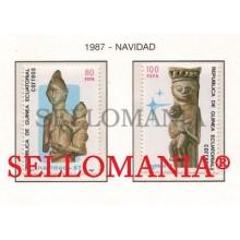 1987 NAVIDAD CHRISTMAS VIRGIN CHILD   96 / 97 ** MNH GUINEA ECUATORIAL TC21954