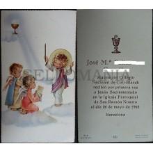 ESTAMPA HOLY CARD PRIMERA COMUNION SAN RAMON NONATO BARCELONA AÑO 1968    CC1575