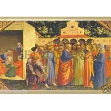 POSTAL FRAY ANGELICO FRAGMENTO DE LA ANUNCIACION PAINTING POSTCARD       TP10160