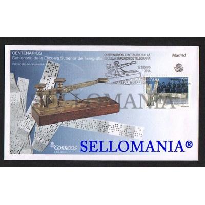 2014 CENTENARIO ESCUELA SUPERIOR DE TELEGRAFIA EDIFIL 4866 SPD FDC       TC20653