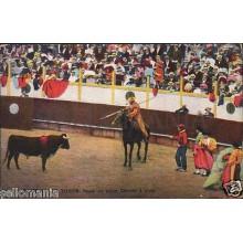 ANTIGUA POSTAL TAUROMAQUIA CITANDO A PICAR TOROS BULLS POSTCARD          CC00551