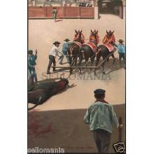 ANTIGUA POSTAL TAUROMAQUIA STENGEL ARRASTRE DEL TORO BULLS               CC00552