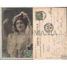 ANTIGUA POSTAL BELLE CARMELA RETRATOS MUJER 1900 WOMAN OLD POSTCARD      CC00795