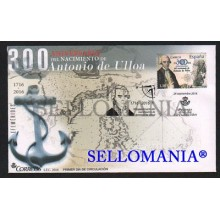 2016 FDC SPD III CENTENARY OF BIRTH OF ANTONIO DE ULLOA CENTENARIO NACIMIENTO SHIP BOAT BARCOS EDIFIL 5082 TC20429
