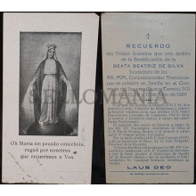 OLD BLESSED BEATRIZ DE SILVA HOLY CARD 1927 FRANCISCAN ESTAMPA SANTINI   CC572