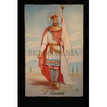 OLD SAINT EDWARD POSTCARD HOLY CARD ESTAMPA TARJETA POSTAL SAN EDUARDO  CC55