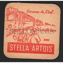 OLD BEER COASTER STELLA ARTOIS BELGIUM YEARS 1950 - 1960  POSAVASOS CC011