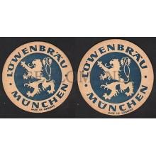 OLD BEER COASTER LÖWENBRÄU MUNICH GERMANY 1950 - 1960 POSAVASOS CC009