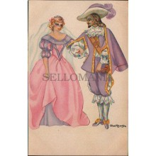 OLD POSTCARD ILLUSTRATOR PILAR ARANDA MUSKETEER AND PRINCESS POSTAL       CC1230
