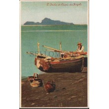 OLD POSTCARD ILLUSTRATORS L'ISOLA DI CAPRI DA NAPOLI  ITALY CARTA POSTALE CC1237