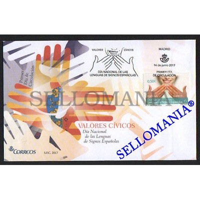 2017 DIA NACIONAL LENGUAS DE SIGNOS ESPAÑOLAS NATIONAL DAY SPANISH SIGN LANGUAGE  EDIFIL 5155 FDC SPD         TC20372